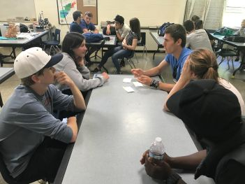 Students in deep discussion