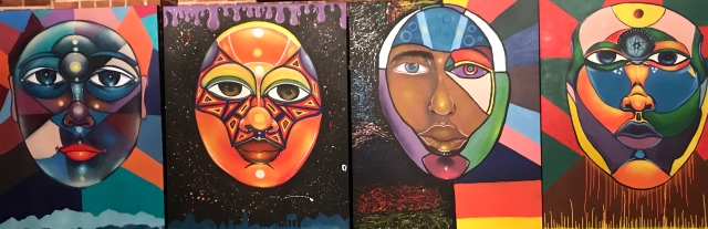Four paintings of faces