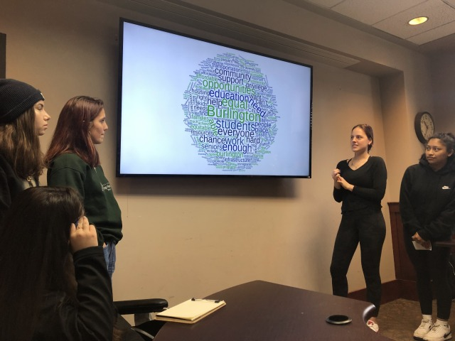 Students stand in front of screen with word cloud